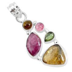 12.36cts natural multi color tourmaline 925 sterling silver pendant p31848