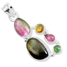 13.26cts natural multi color tourmaline 925 sterling silver pendant p31850