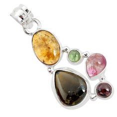 12.07cts natural multi color tourmaline 925 sterling silver pendant p31855