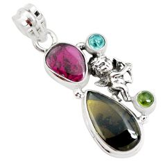 10.01cts natural multi color tourmaline silver cupid angel wings pendant p31878