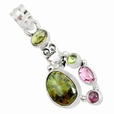 925 sterling silver 9.47cts natural multi color tourmaline owl pendant p31879