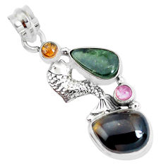 12.34cts natural multi color tourmaline 925 sterling silver fish pendant p31880