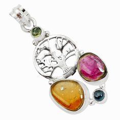 925 silver 12.34cts natural multi color tourmaline tree of life pendant p31884