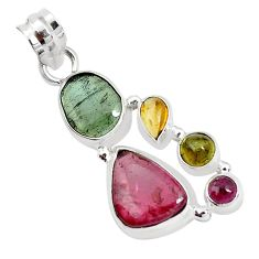 9.63cts natural multi color tourmaline 925 sterling silver pendant p31885