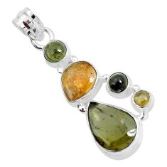10.66cts natural multi color tourmaline 925 sterling silver pendant p31891