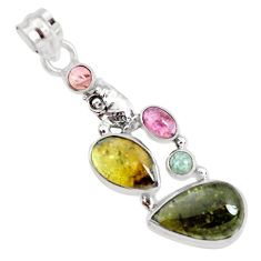 925 sterling silver 11.37cts natural multi color tourmaline owl pendant p31899