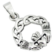 Indonesian bali style solid 925 silver celtic heart crown pendant p3290