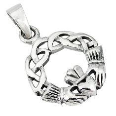 Indonesian bali style solid 925 silver celtic heart crown pendant jewelry p3291