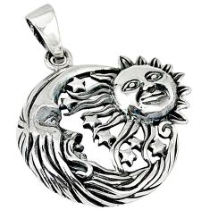 925 silver indonesian bali style solid crescent moon star pendant p3380