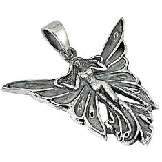 Indonesian bali style solid 925 sterling silver angel wing fairy pendant p3391