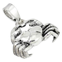 925 sterling silver indonesian bali style solid crab pendant jewelry p3451
