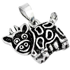 Indonesian bali style solid 925 sterling silver cow charm pendant p3492