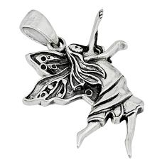 Indonesian bali style solid 925 sterling silver angel wings fairy pendant p3525
