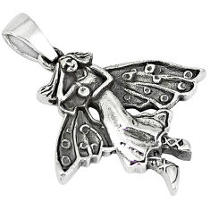Indonesian bali style solid 925 silver angel wings fairy pendant p3535