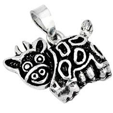 Indonesian bali style solid 925 sterling silver cow charm pendant jewelry p3589