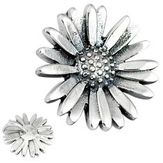 Indonesian bali style solid 925 sterling silver flower pendant p3595