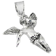 Indonesian bali style solid 925 silver angel wings fairy pendant jewelry p3602