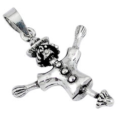 925 sterling silver indonesian bali style solid strawman charm pendant p3651