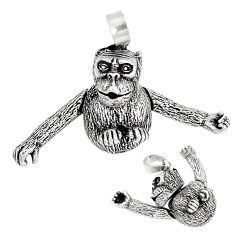 Indonesian bali style solid 925 sterling silver chimpanzee charm pendant p3660