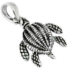 Indonesian bali style solid 925 sterling silver turtle pendant p3671