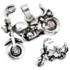 Indonesian bali style solid 925 sterling silver motorbike charm pendant p3737