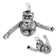 Indonesian bali style solid 925 sterling silver chimpanzee charm pendant p3742
