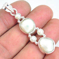 13.71cts natural white pearl 925 sterling silver pendant jewelry p5022