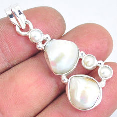 925 sterling silver 13.71cts natural white pearl fancy pendant jewelry p5024