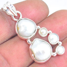 13.71cts natural white pearl 925 sterling silver pendant jewelry p5025