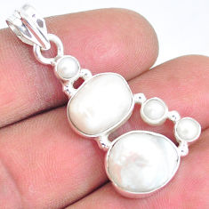 14.41cts natural white pearl 925 sterling silver pendant jewelry p5035