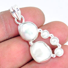 12.83cts natural white pearl 925 sterling silver pendant jewelry p5038