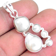 13.28cts natural white pearl 925 sterling silver pendant jewelry p5039