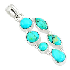 8.83cts natural green kingman turquoise 925 sterling silver pendant p5061