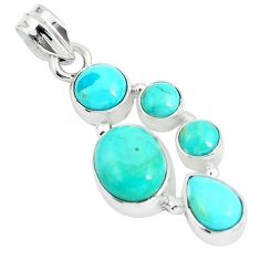 9.49cts natural green kingman turquoise oval 925 sterling silver pendant p5067