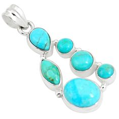 12.71cts natural green kingman turquoise 925 sterling silver pendant p5068