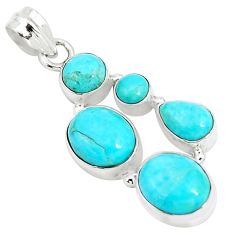 925 sterling silver 12.63cts natural green kingman turquoise pendant p5073