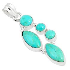 925 sterling silver 11.66cts natural green kingman turquoise pendant p5076