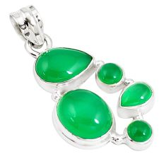 925 sterling silver 12.22cts natural green chalcedony pear pendant jewelry p5184