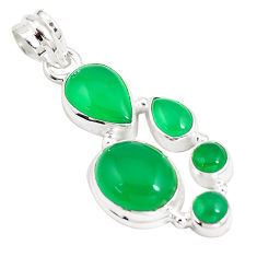 925 sterling silver 12.31cts natural green chalcedony pendant jewelry p5188