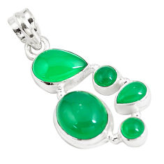 925 sterling silver 11.84cts natural green chalcedony pear pendant jewelry p5192