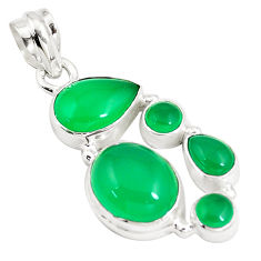 12.71cts natural green chalcedony 925 sterling silver pendant jewelry p5193