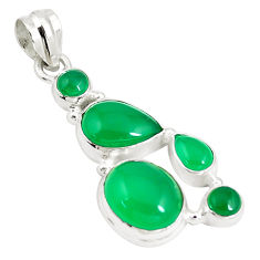 12.67cts natural green chalcedony 925 sterling silver pendant jewelry p5194