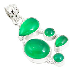 925 sterling silver 11.89cts natural green chalcedony pendant jewelry p5198