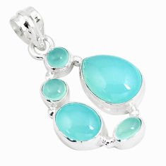 12.31cts natural aqua chalcedony 925 sterling silver pendant jewelry p5220