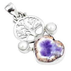 10.79cts natural purple opal white pearl 925 silver tree of life pendant p5321