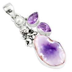 Natural purple opal amethyst pearl 925 silver cupid angel wings pendant p5329