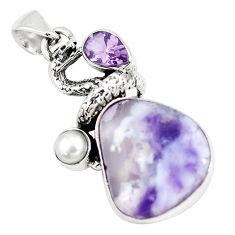 15.85cts natural purple opal amethyst pearl silver anaconda snake pendant p5334