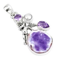 Natural purple opal amethyst pearl 925 silver angel wings fairy pendant p5336