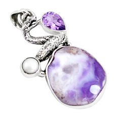 15.39cts natural purple opal amethyst pearl silver anaconda snake pendant p5337