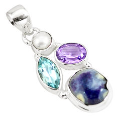 925 silver 9.61cts natural purple opal amethyst pearl topaz pendant p5349